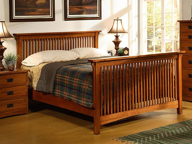 Mission Solid Oak King Size Spindle Bed Free Shipping