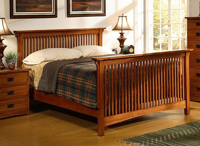 Shop Mission Solid Oak Cal King Spindle Bed Free