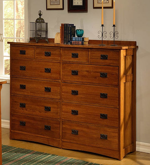 Mission Solid Oak 12 Drawer Mule Chest Free Shipping