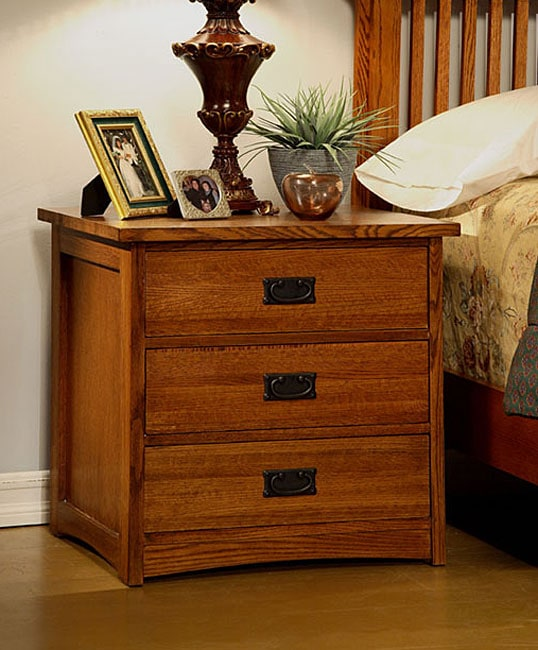 Mission Solid Oak 3 Drawer Nightstand Free Shipping