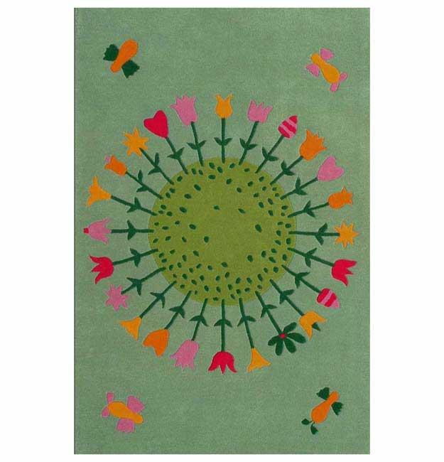 Hand-tufted Round Flower Kids' Rug (5' x 8')