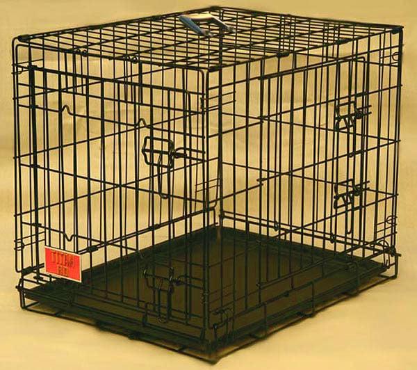 Double Door Medium 30-inch Folding Dog Crate Cage