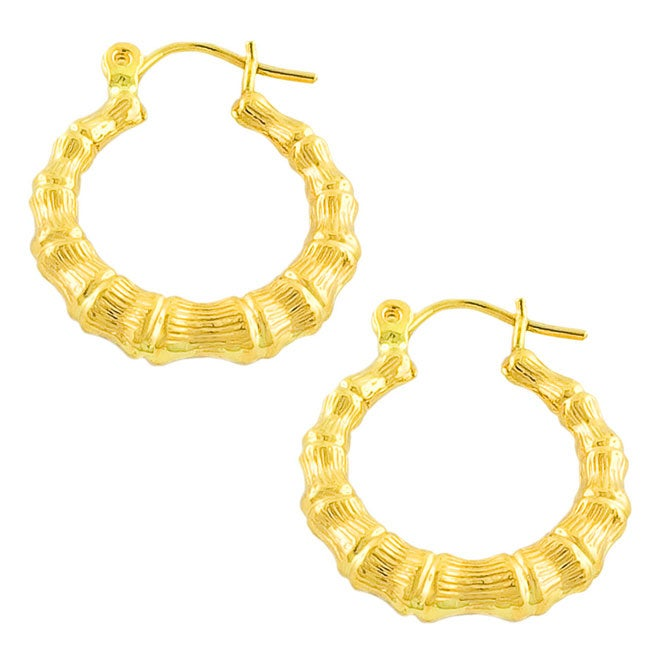 f2de84a6a Shop 14k Yellow Gold Bamboo Hoop Earrings - Free Shipping Today - Overstock  - 2680976