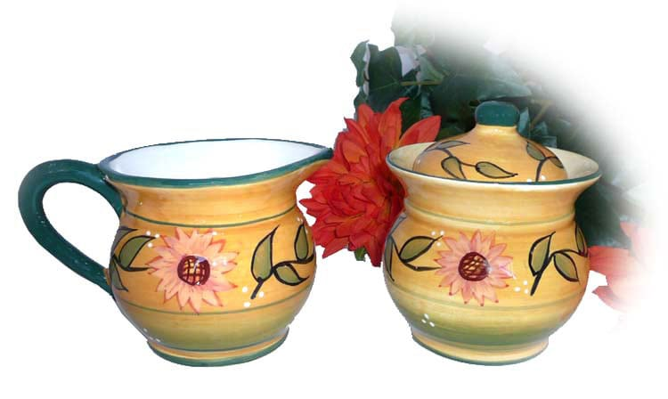Sunflower Garden Hand-painted Sugar and Creamer Set