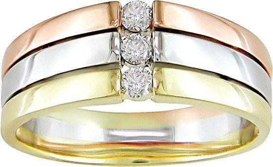 14k Tri-tone Gold and 1/6ct Diamond Ring