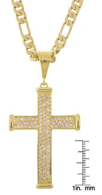 Simon Frank 14k Gold Overlay Cross with CZ Hip Hop Necklace