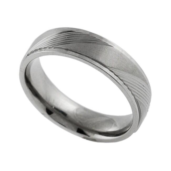 Men's Titanium Comfort Band Ring with Diamond-cut Designs
