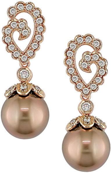 Cultured Tahitian Pearl 1/2ct TDW Diamond Earrings (9-10mm)
