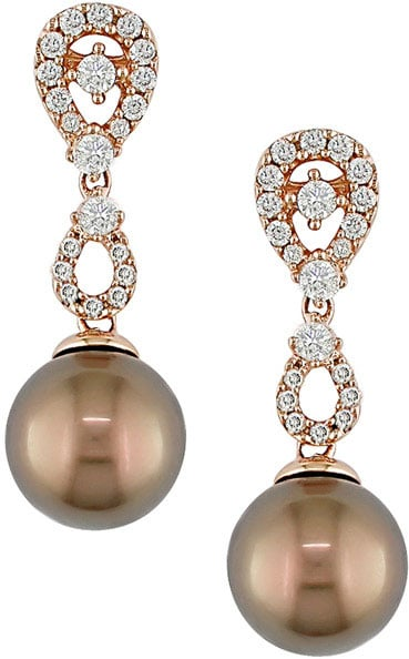 Cultured Tahitian Pearl 1/2ct Diamond Earrings (9-10mm)