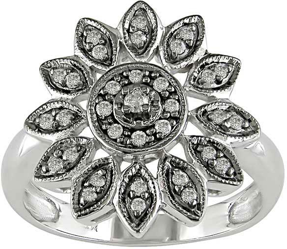 14k White Gold 1/6ct TDW Diamond Flower Ring