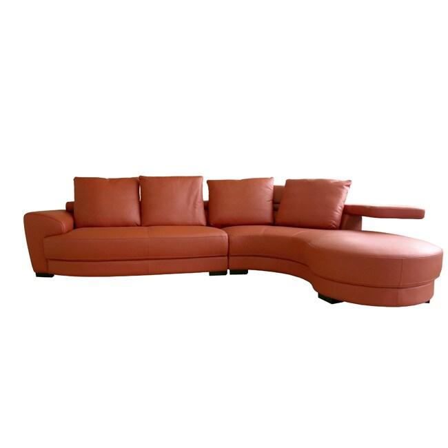 Leopold Burnt Orange Full Leather Sofa Set Free Shipping