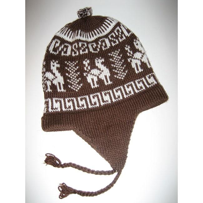 808953725 Alpaca Wool Blend Chullo Earflap Hat (Peru)