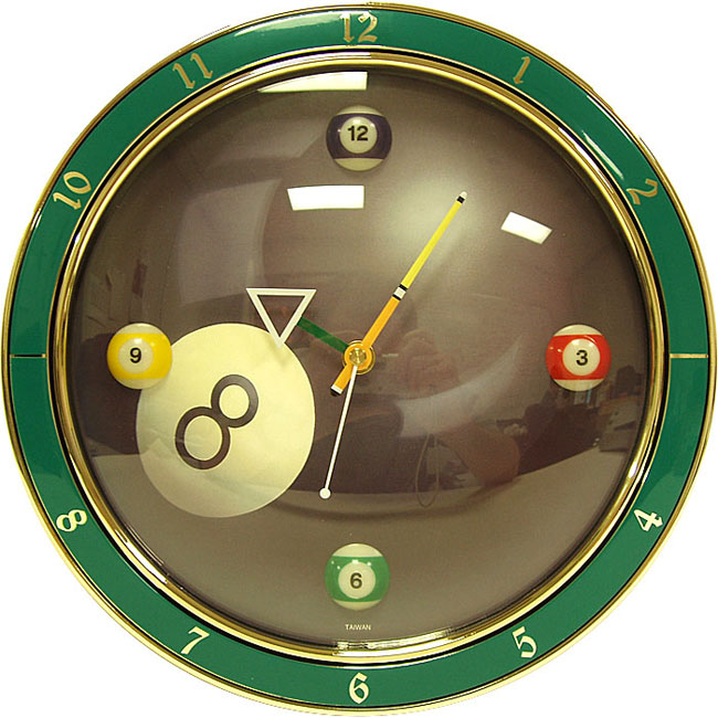 8 ball pool themed game room clock free shipping today for Garden treasures pool clock