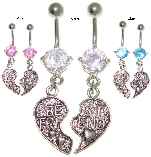 Carolina Glamour Collection Pair of Best Friend Belly Rings