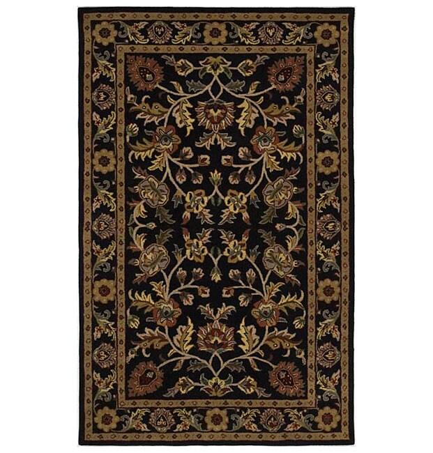 Hand-tufted Omnamo Black Wool Rug (5' x 8')