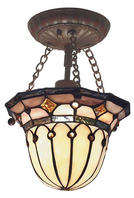 Tiffany Style Semi Flush Ceiling Mount Light Fixture