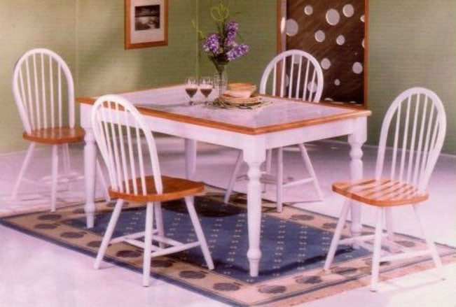 White Tile Top Table And 4 Windsor Chairs Set Free