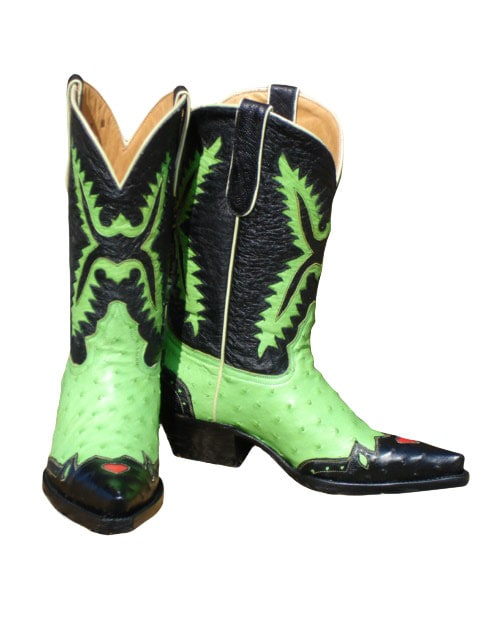 Jurassic Lime Green And Black Ostrich Cowboy Boots Free