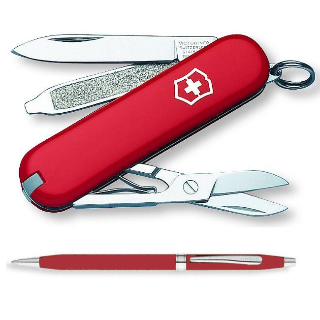 Red Swiss Army Classic Knife with Cross Pen