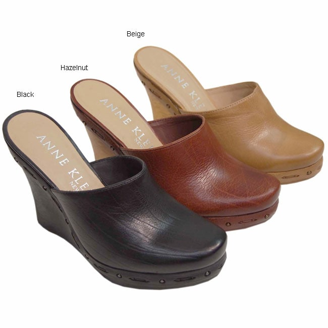 Shop Anne Klein New York Leather Wedge Clogs Free