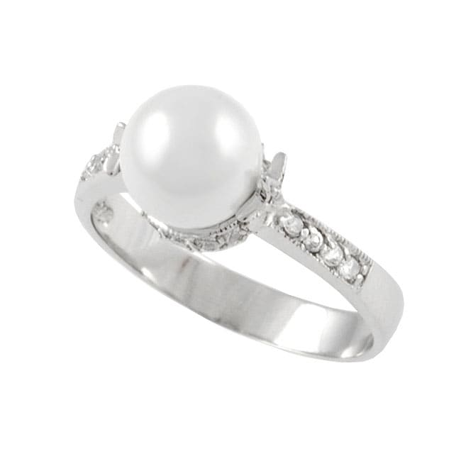Journee Collection Sterling Silver with Faux Pearl CZ Ring - Thumbnail 0
