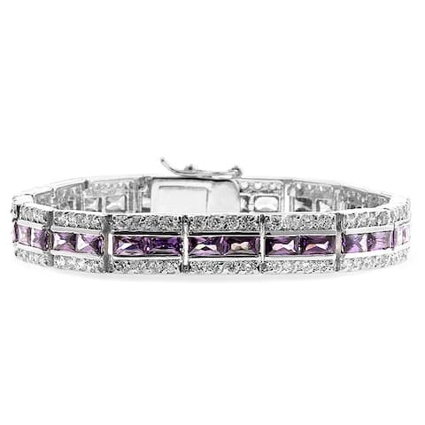Silvertone Lavender and Clear CZ