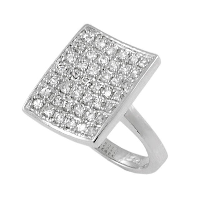 Journee Collection Sterling Silver Rectangular CZ Pave Ring