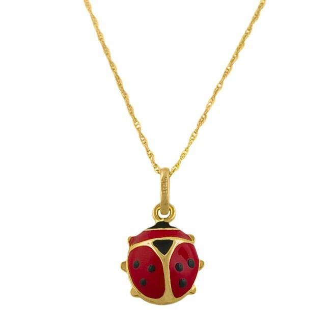 14k Gold and Enamel Lady Bug Necklace