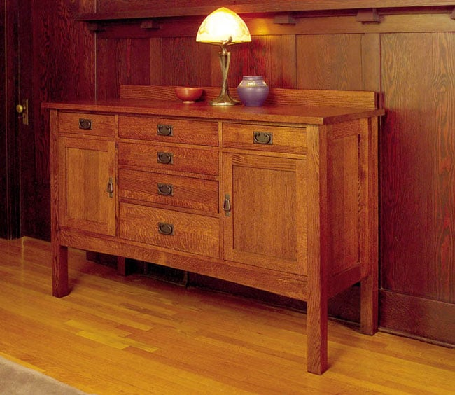 Mission Style Dining Room: Mission Solid Oak Grand Sideboard Buffet