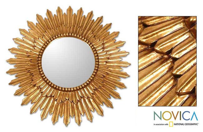 Handmade Sunbeams Mohena Wood Frame Mirror (Peru)
