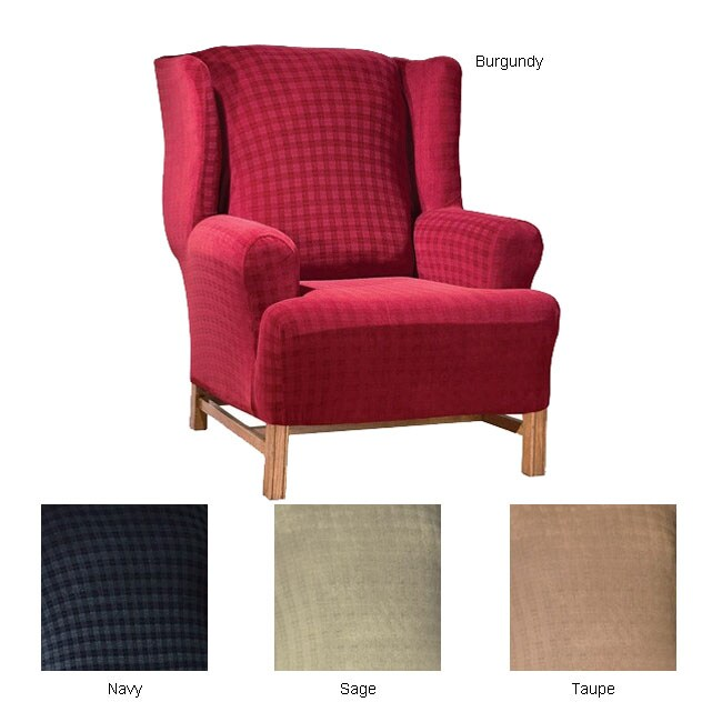 STRETCH Plaid Wing Chair Slipcover - Free Shipping Today - Overstock