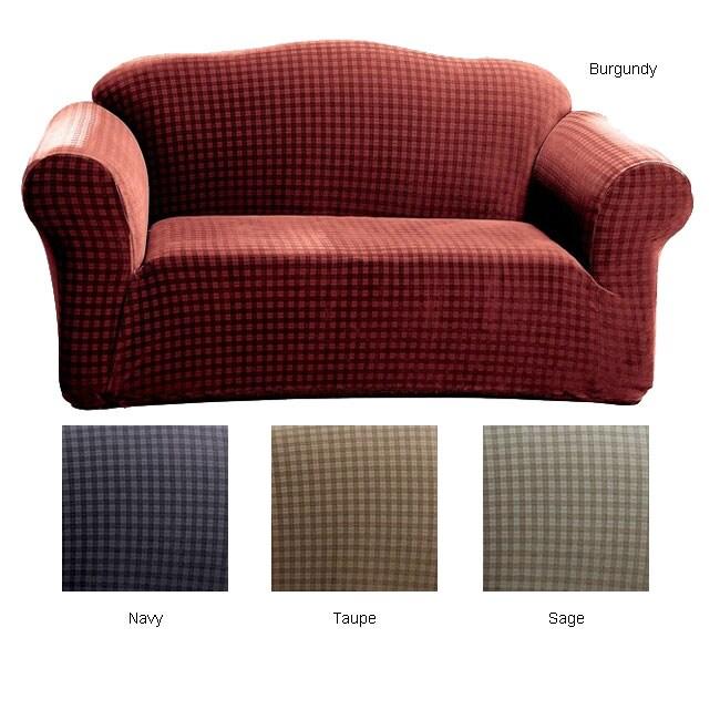 Shop Stretch Plaid Sofa Slipcover Free Shipping Today