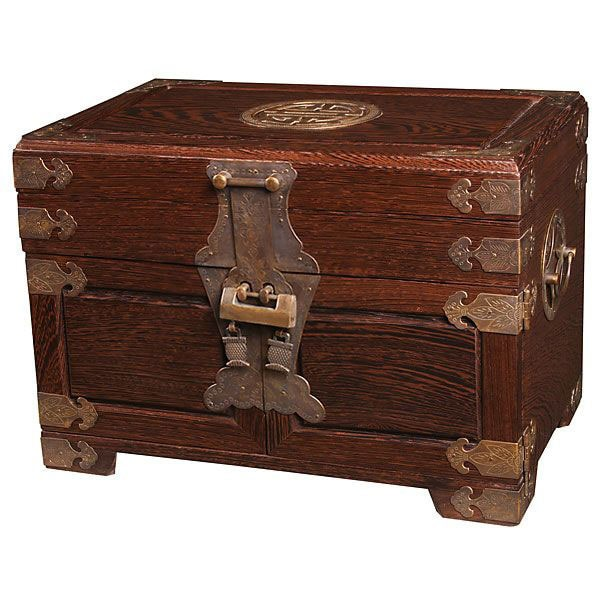 Vintage Style Antiqued Brass and Wood Jewelry Box
