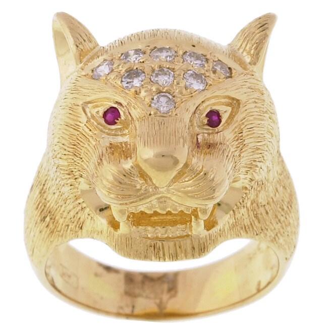 14k Yellow Gold 1/4ct TDW Diamond Cougar Ring