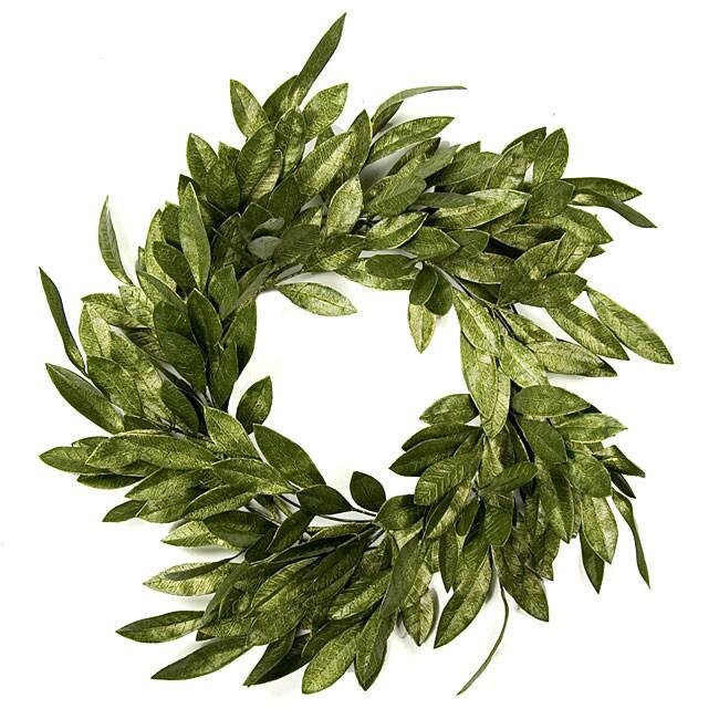 Metallic Green Bay Leaf Wreath - Free Shipping On Orders ...