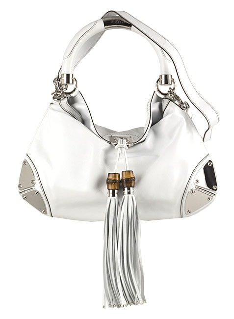 Gucci White Leather 'Indy' Large Tassle Bag
