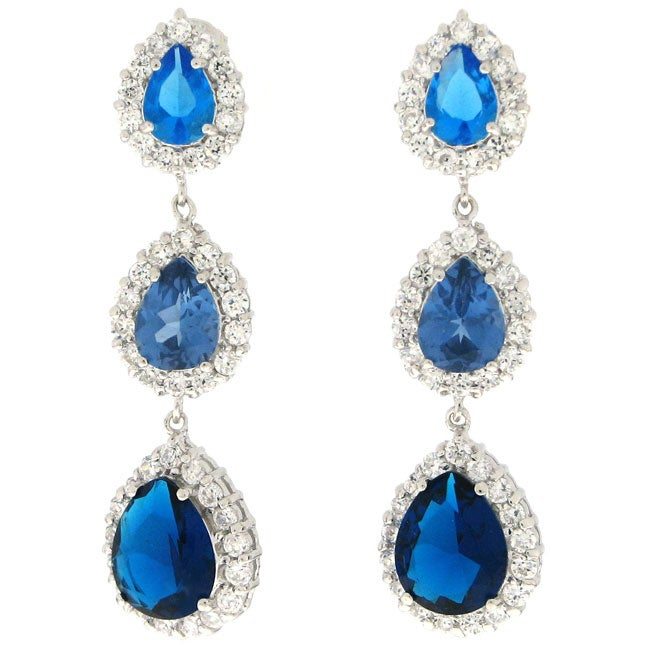 Charles Winston Created Sapphire Dangling Earrings