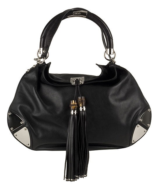 9b84630168 Shop Gucci Black Leather  Indy  Large Tassel Hobo Bag - Free Shipping Today  - Overstock - 2888041