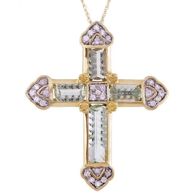 14bceb456930eb Shop Encore by Le Vian 14k Gold Quartz & Sapphire Cross Necklace - Free  Shipping Today - Overstock - 2896197