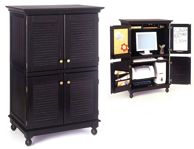 Computer Armoire with Distressed Black Finish - Free Shipping Today