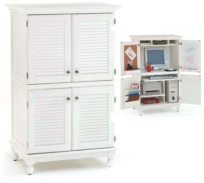 Computer Armoire with Distressed White Finish - Free Shipping Today