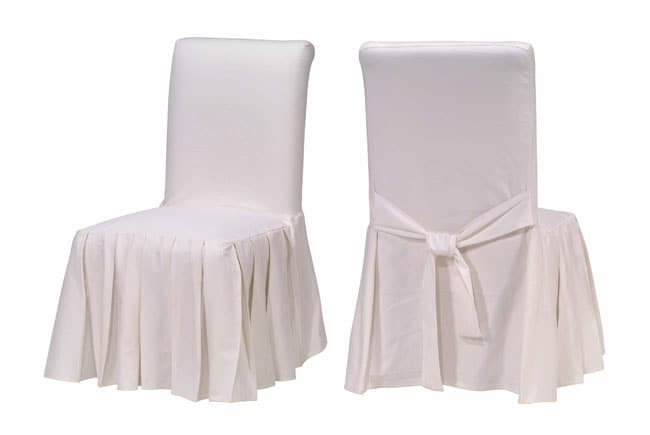 Cotton Duck White Pleated Dining Chair Slipcovers
