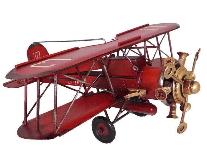 Antique Metal Bi-Plane Airplane Model Toy Replica