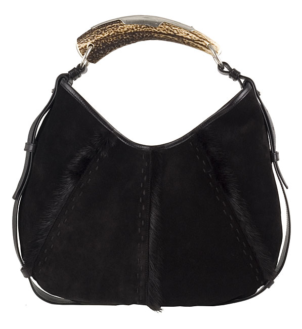 ce28b3e7aa92 Shop Yves Saint Laurent Suede Hobo w  Deer Horn Handle - Free Shipping  Today - Overstock - 2899883