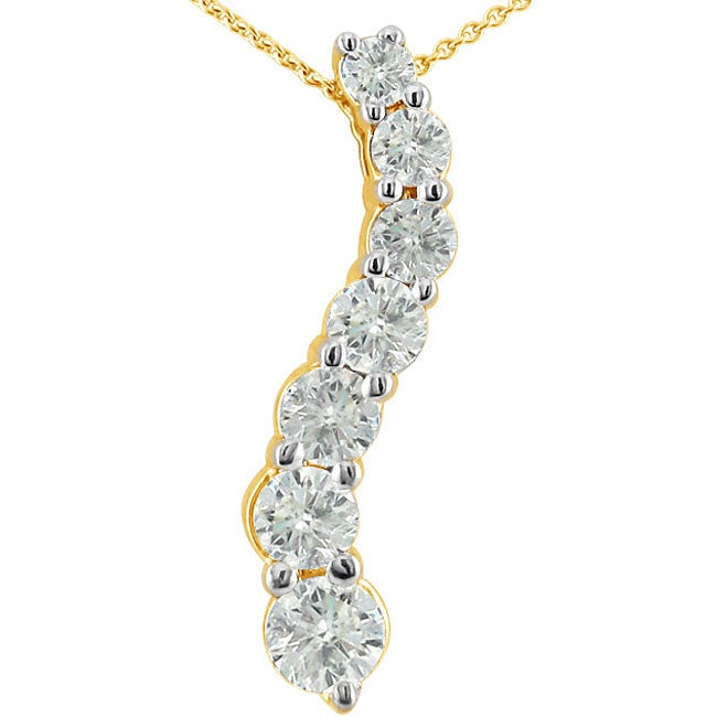 14k Yellow Gold 1/2ct TDW Diamond Journey Necklace (H-I, I1)