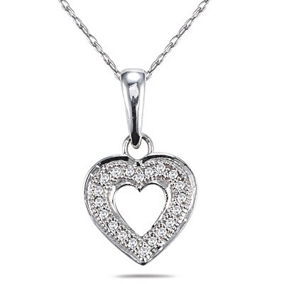 c470c18f9dfcef Shop 10k White Gold Diamond Accent Heart Necklace - Free Shipping ...