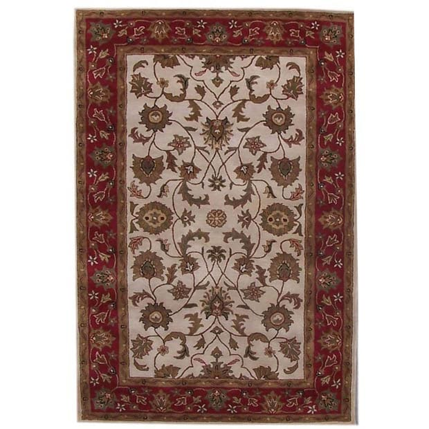 Hand-tufted Rajaji Cream Wool Rug (9' x 13')