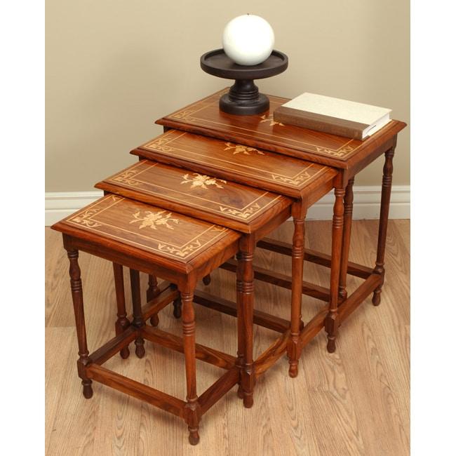 Flower Furniture Wood Nesting Table Set (Pakistan)