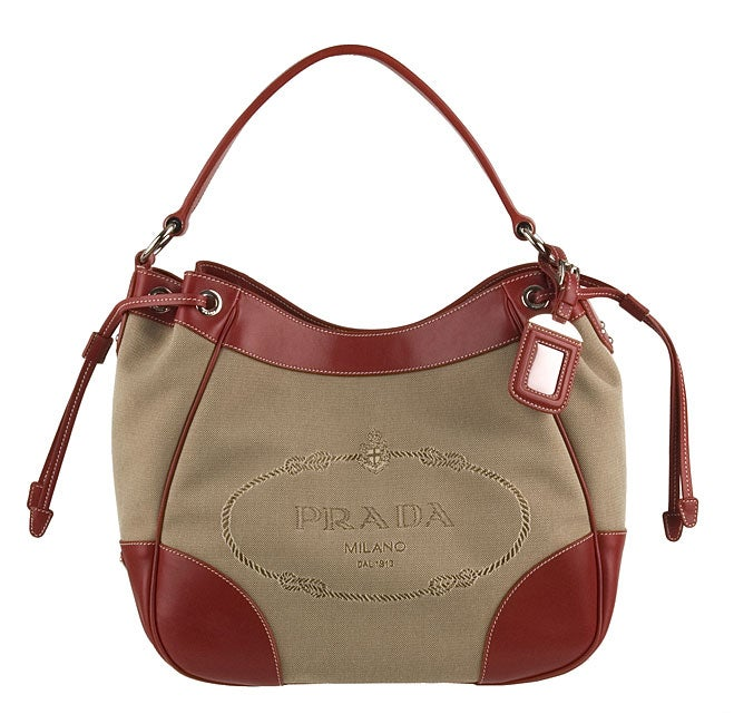 7116ab10994 Shop Prada Beige/Red Logo Jacquard Canvas Tote - Free Shipping Today ...