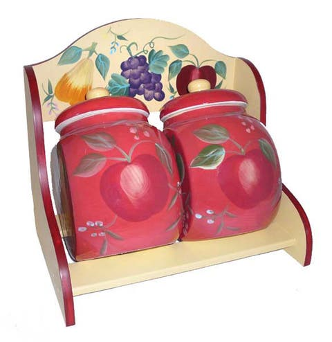 Sandy's Orchard Hand-painted Storage Jars w/ Rack